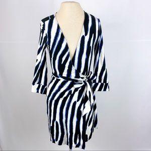 Diane Von Furstenberg Zebra Striped Wrap Dress